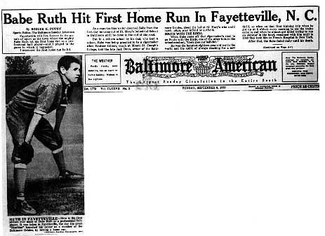 d42fa30d72 The newspaper Baltimore American featured Babe Ruth s first picture made as  a professional ballplayer and gave details of his first home run.