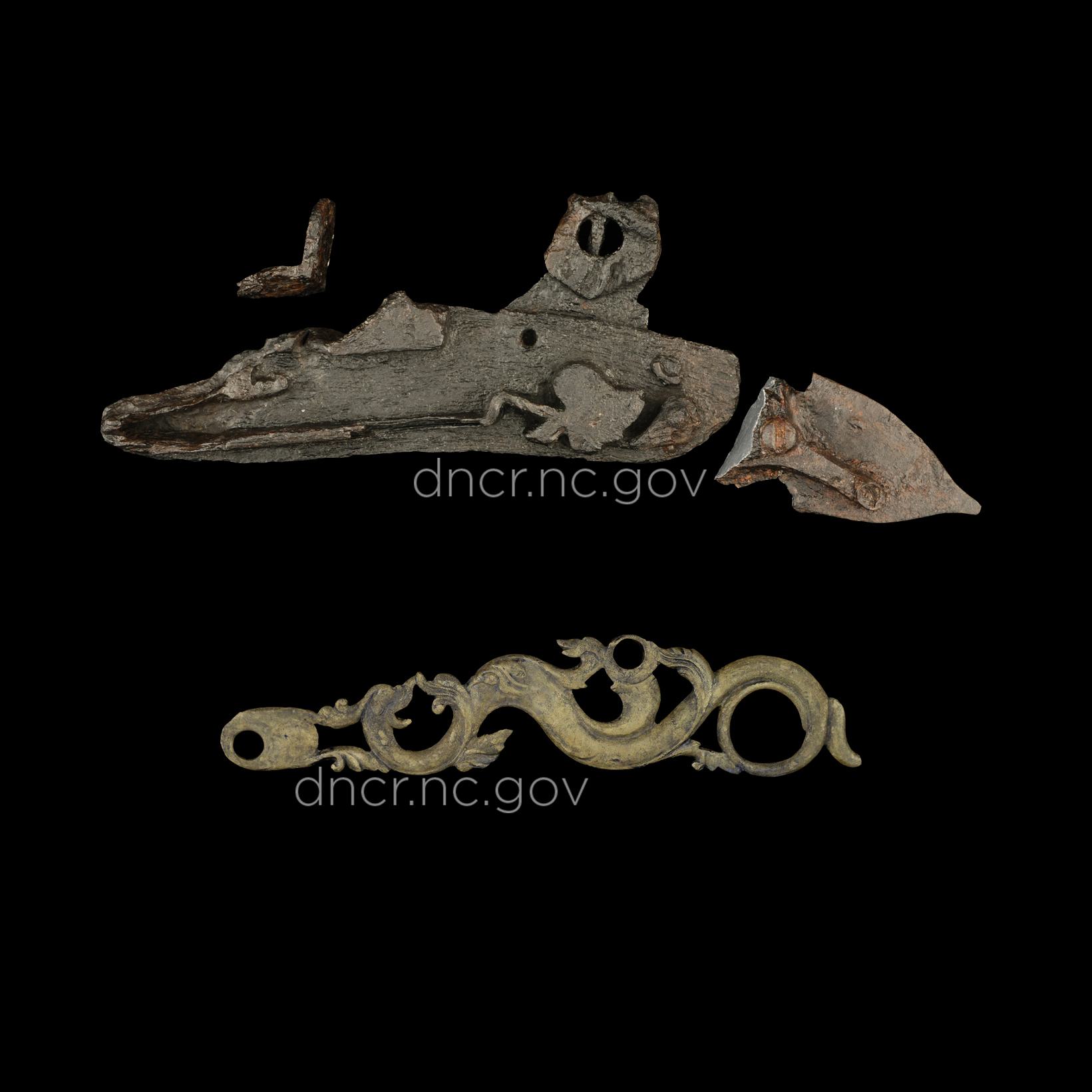Gun parts from the Queen Anne's Revenge shipwreck.
