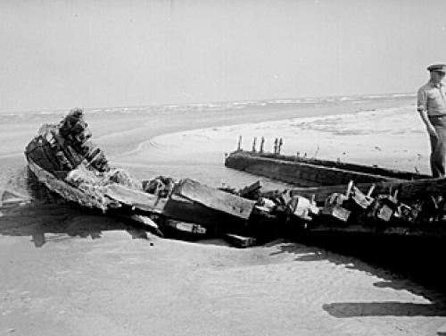 An unknown shipwreck found in 1944 in either Ocracoke or Hatteras.