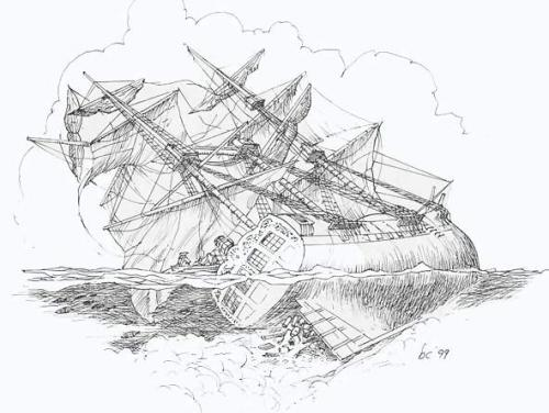 Illustration of the loss of Queen Anne's Revenge.