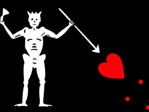 Modern depiction of Blackbeard's flag.