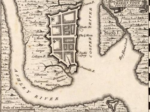 A 1733 map of Charleston, SC.
