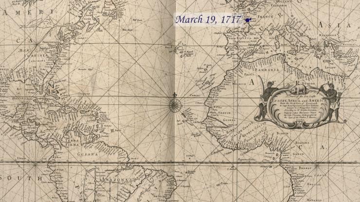 Location of La Concorde on March 19, 1717.