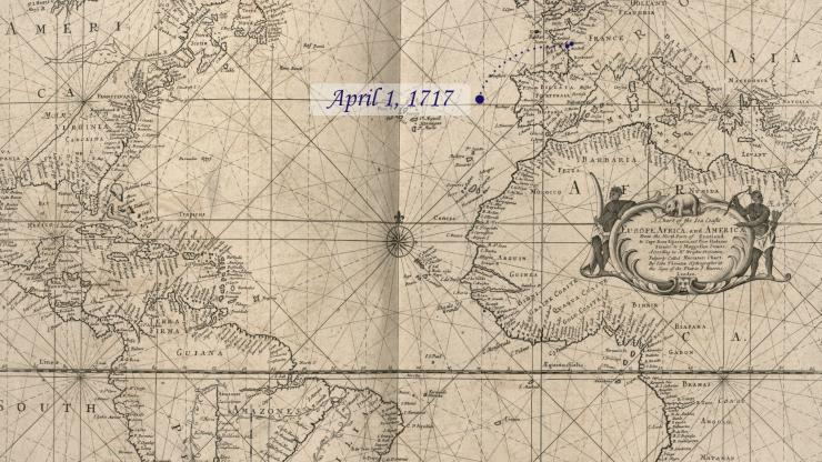 Location of La Concorde on April 1, 1717.