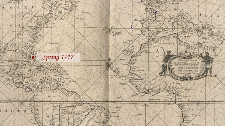 Location of Blackbeard in the Spring of 1717.