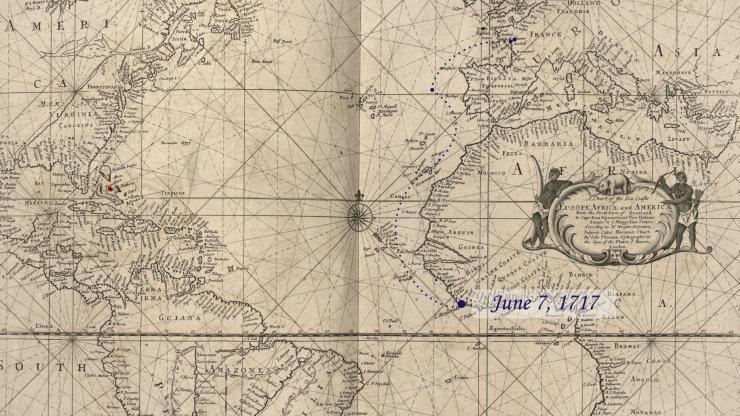 Location of La Concorde on June 7, 1717.