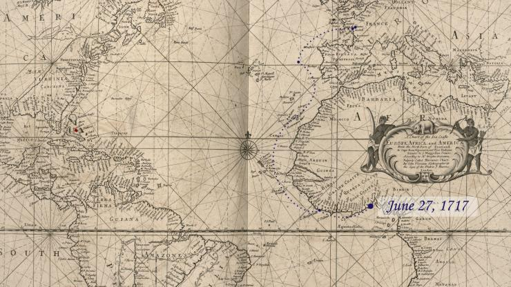Location of La Concorde on June 27, 1717.
