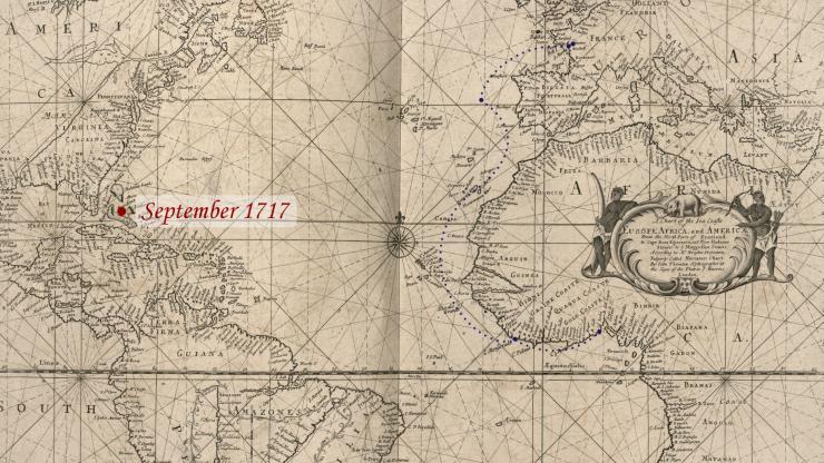 Location of Blackbeard in September 1717.