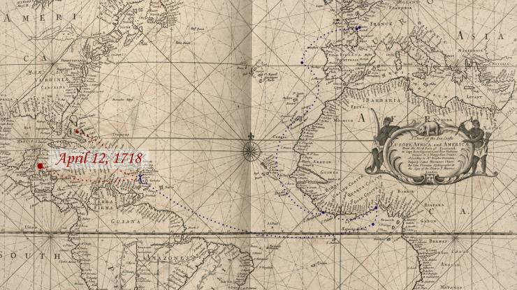 Location of Queen Anne's Revenge on April 12, 1718.