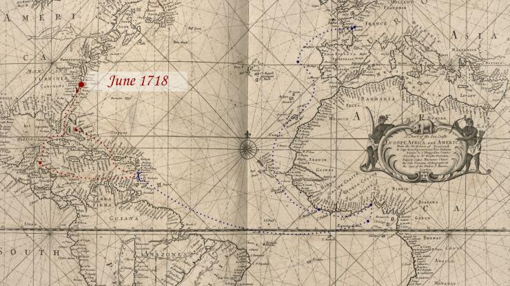 Location of Blackbeard in late June 1718