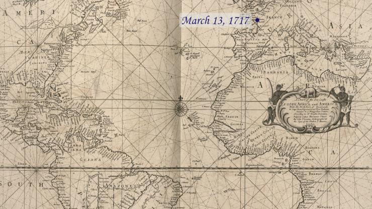 Location of La Concorde on March 13, 1717.