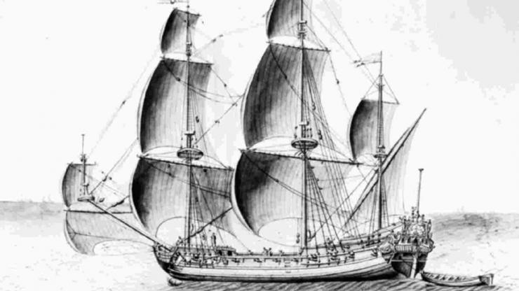 A drawing of a ship similar to the Queen Anne's Revenge