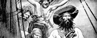 An illustration of Blackbeard with his crew