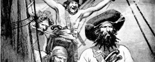 "An illustration of Blackbeard with Crew from ""The Book of Pirates"" by Arthur Lawrence"