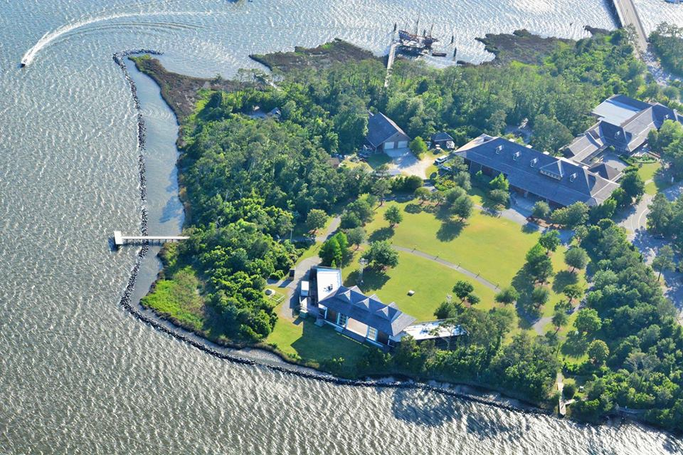 Aerial photo of grounds at Roanoke Island Festival Park