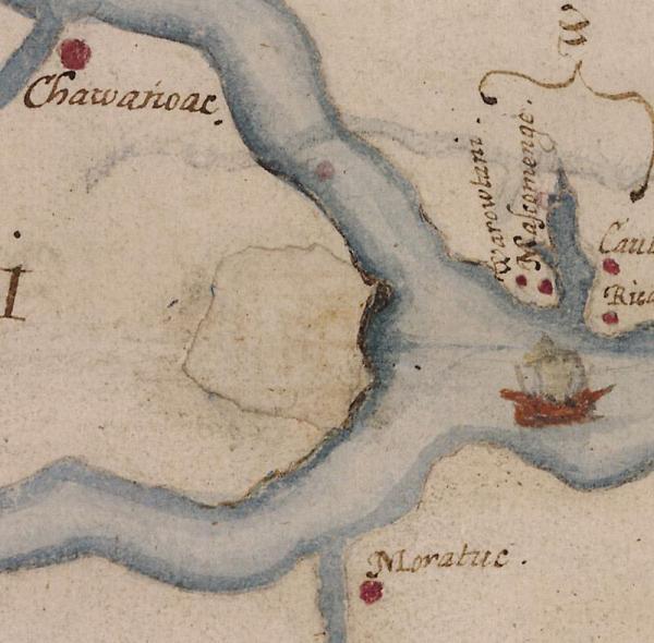 John White's watercolor map of Roanoke Island