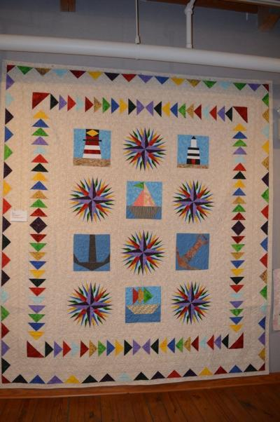 Mariner's Compass quilt at the 2019 Outer Banks Community Quilt Show at Roanoke Island Festival Park