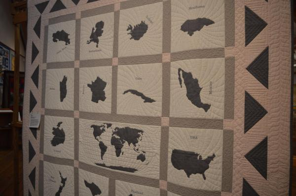Around the World quilt at the 2019 Outer Banks Community Quilt Show at Roanoke Island Festival Park