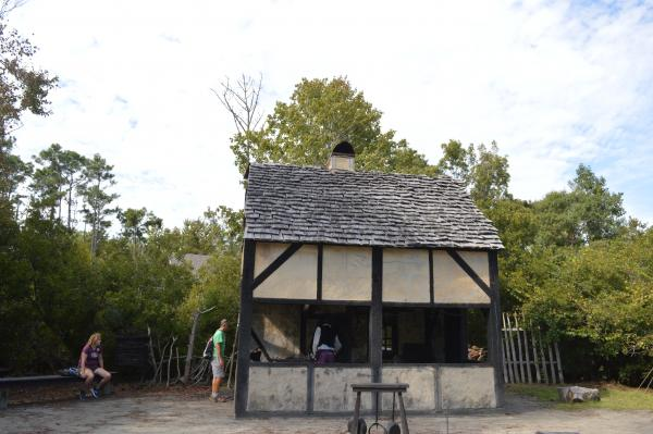 Blacksmith's shop exterior in the Settlement Site at Roanoke Island Festival Park
