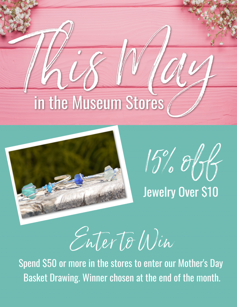 May 2019 sales flyer for the Museum Stores at Roanoke Island Festival Park