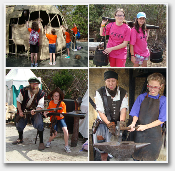Girl scout groups touring Roanoke Island Festival Park