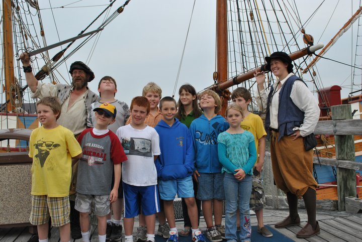 Boy scouts on the Elizabeth II with sailors at Roanoke Island Festival Park