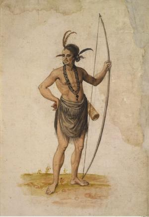 John White watercolor painting of male Algonquin Indian hunter