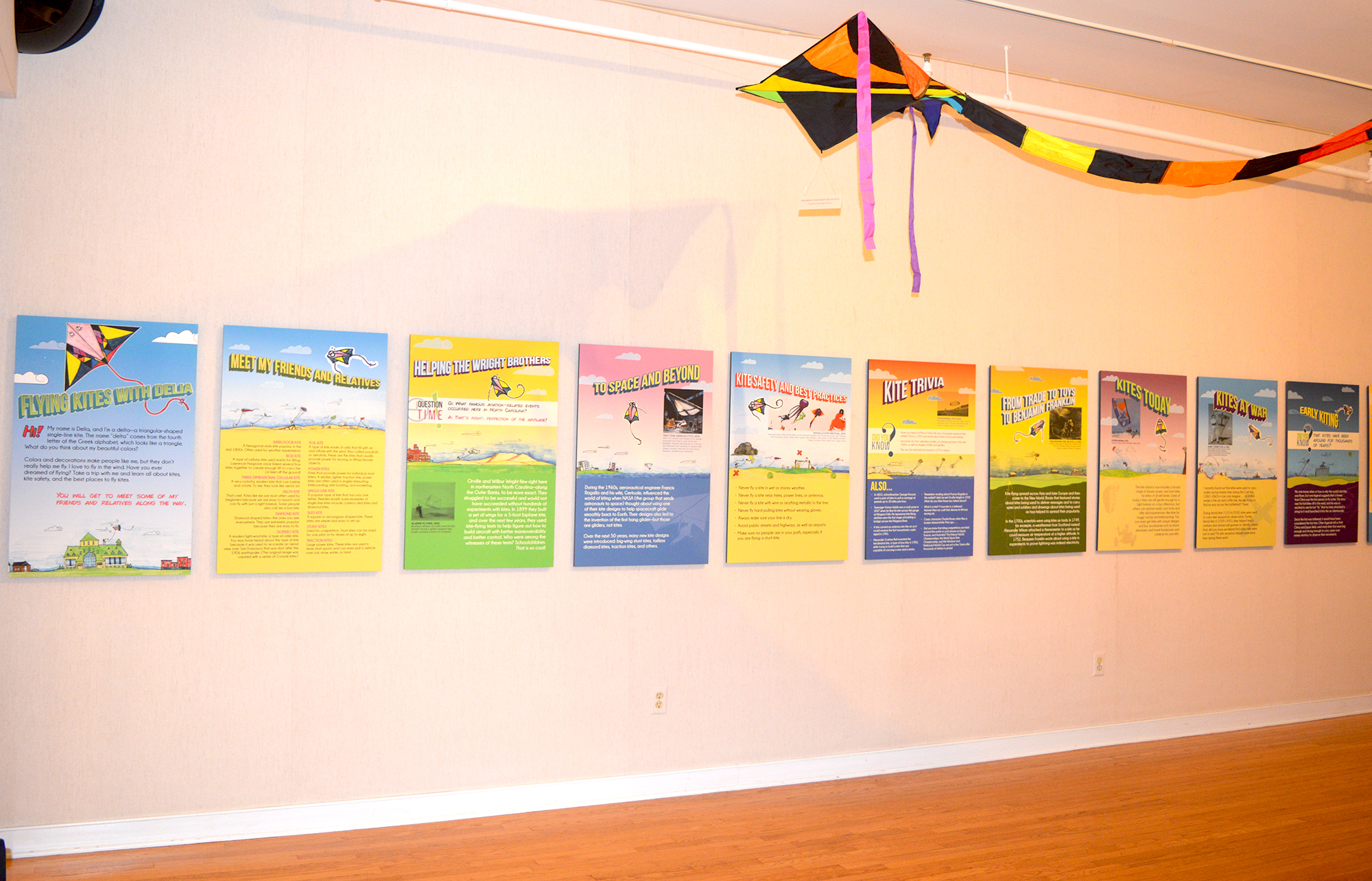 Flying Kites with Delia, traveling exhibit at Roanoke Island Festival Park