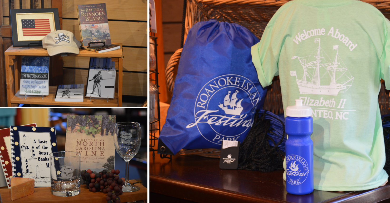 T-shirts, books and souvenirs in the Museum Stores at Roanoke Island Festival Park