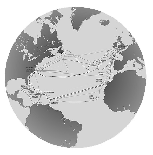 World map of the Roanoke voyages