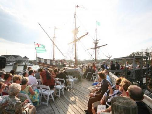 Wedding ceremony on the Elizabeth II ship at Roanoke Island Festival Park