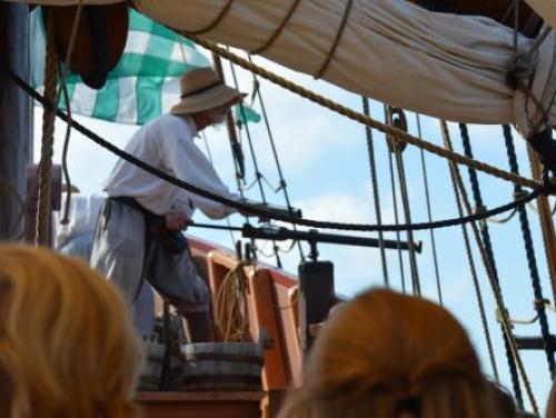 Historic interpreter performs gun drill on the Elizabeth II at Roanoke Island Festival Park