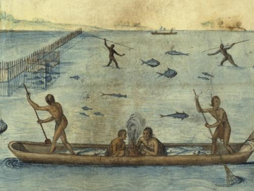 John White watercolor image of American Indians fishing