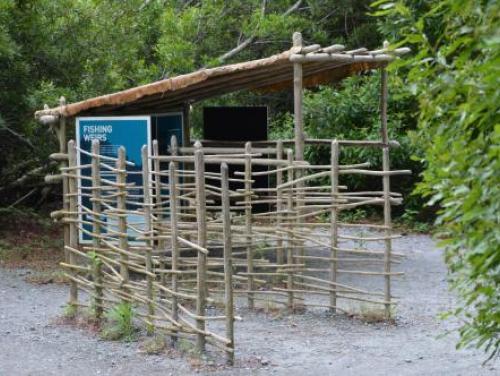 Fishing net exhibit in American Indian Town at Roanoke Island Festival Park