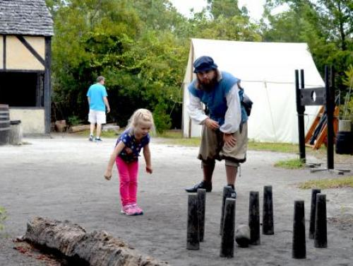 Nine pin game in the Settlement Site at Roanoke Island Festival Park