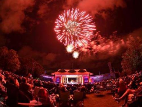 Fireworks during concert on the pavilion stage at Roanoke Island Festival Park