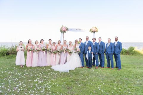 Wedding party by soundfront at Roanoke Island Festival Park wedding venue