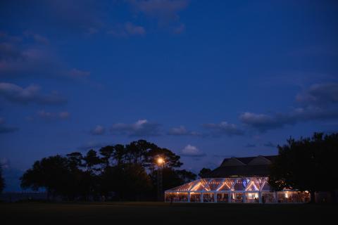 Evening wedding reception at Roanoke Island Festival Park