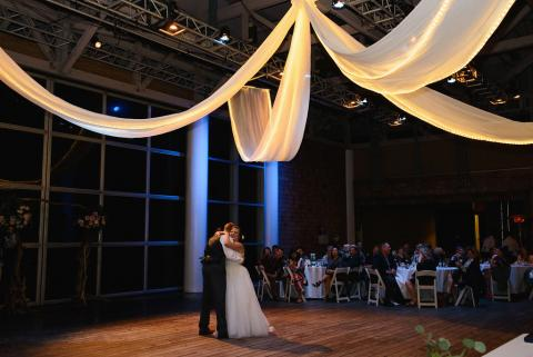 Couple's first dance on the pavilion stage at Roanoke Island Festival Park