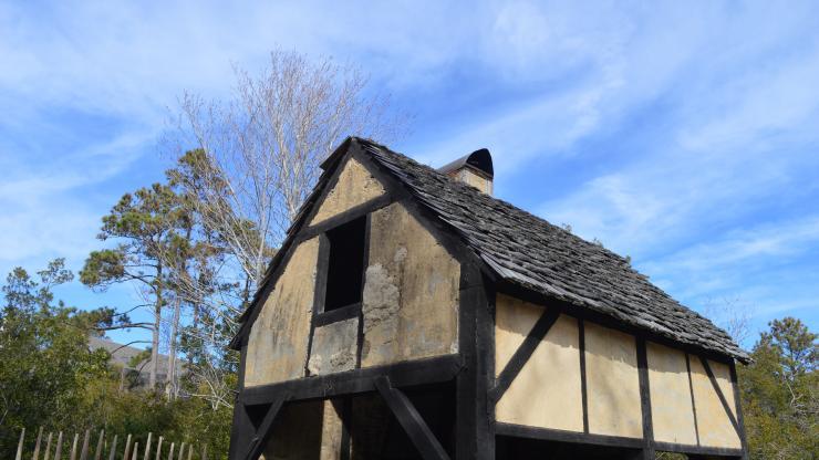 16th century blacksmith's shop exterior in the Settlement Site at Roanoke Island Festival Park