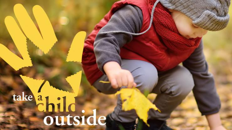 Take a child outside week graphic featuring toddler playing in fall leaves