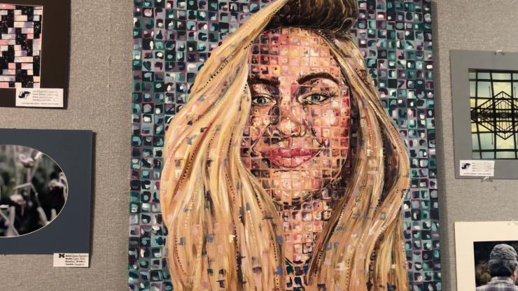 2018 Dare County High School Art Show gallery wall