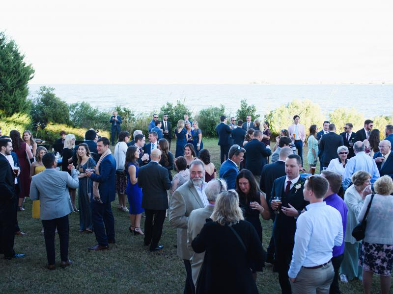 Wedding cocktail hour at the soundfront lawn at Roanoke Island Festival Park