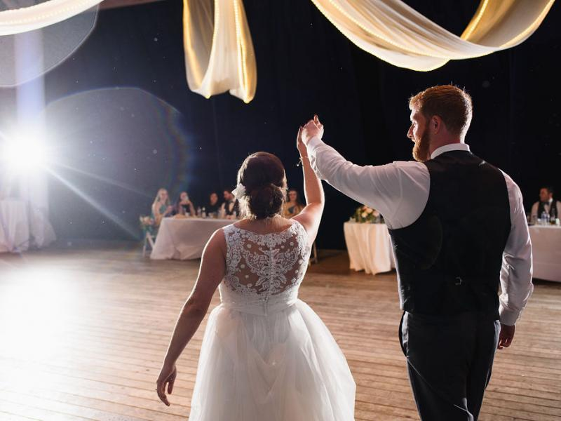 Couple's first dance entrance at Roanoke Island Festival Park