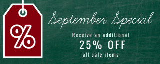 September sales at the Museum Stores at Roanoke Island Festival Park
