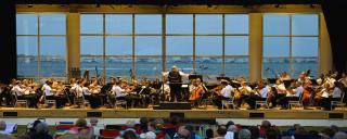 VA Symphony preforming on the waterfront stage at Roanoke Island Festival Park