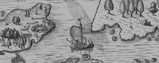 Grey map banner of Roanoke Island in the 16th century