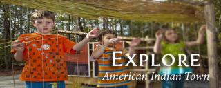 Kids building longhouse in American Indian Town at Roanoke Island Festival Park