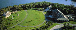 Pavilion stage, lawn and grounds aerial photo