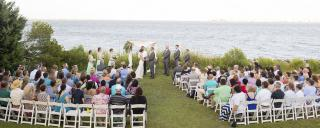 Wedding ceremony behind the Pavilion Stage at Roanoke Island Festival Park